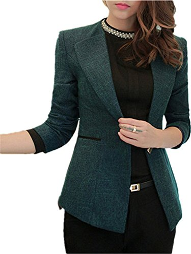 Redcoat Costumes (Bikifree Spring Plus Size Blazer NEW Basic Solid Costume Office Female Formal Jackets Work Suit WAT1078 BlackMedium)