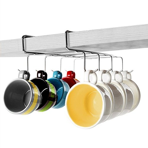 Up Mug Rack | Multiuse Space-Saving Under-the-Shelf Mug Holder Hanging Rack Organizer with 8 Hooks | Durable Rustproof Stainless Steel for Glass Cup Cabinet Pantry Kitchen Tool Storage | 1332.2