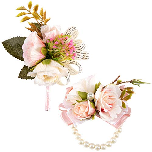 ANPHSIN Rose Boutonniere Handmade Slik Classic Artificial Flower Corsage and Pearl Stretch Bracelet Set for Groomsman, Best Man, Brides and Bridesmaid Wedding Prom Party Suit Decoration(Pink) (Pink Bracelet Corsage)