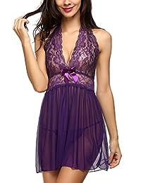 Avidlove Women's Babydoll Lace Lingerie Mesh Outfits Halter Chemise