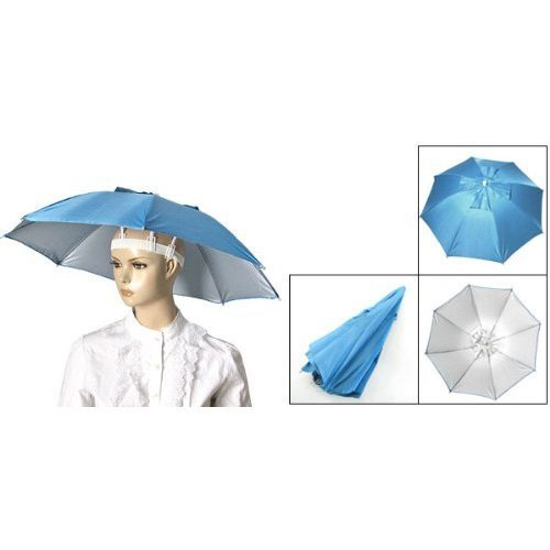 URBEST®Sky Blue Folding Umbrella Hat with Adjustable Headband