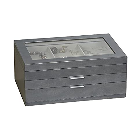 Mele & Co. Misty Glass Top Wooden Jewelry Box (Oceanside Grey Finish)