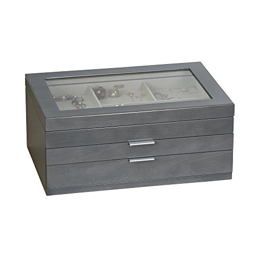 Mele & Co. Misty Glass Top Wooden Jewelry Box (Oceanside Grey Finish) by Mele & Co.