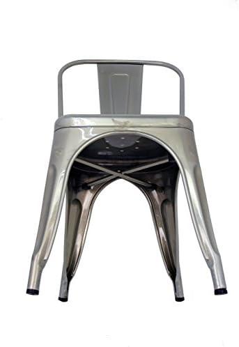 La Silla Española - Pack 2 Sillas estilo Tolix con respaldo. Color Gris Industrial. Medidas 85x54x45,5  oJHdEs
