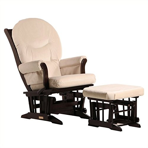 Dutailier Sleigh Glider-Multi-Position Recline and Nursing Ottoman Combo, (Nursery Multi Position Wood Glider)