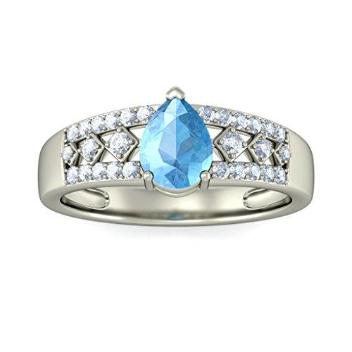 14K Or blanc, 0,23carat Diamant Blanc (IJ   SI) Topaze bleue et diamant Bague