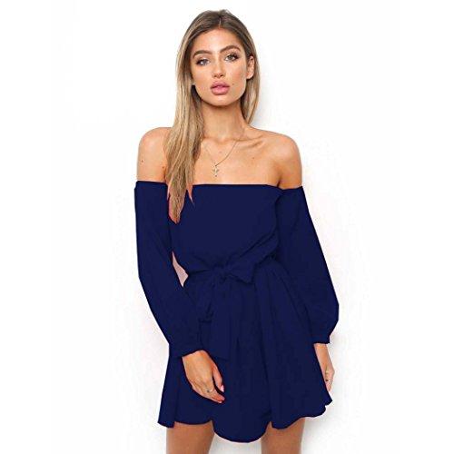Robe Bleu fonc Top Longue Casuel Automne Printemps Manche Haut Sexy Nue Mini Robe Femme Chic paule Blouse Tunique Robe 1HqTTdU
