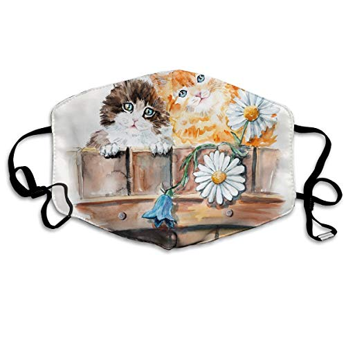 Vtwvg Two Cats On A Fence with Flowers. Washable Reusable Safety Mask, Stylish Polyester Adolescent Couple Dust-Proof Adjustable Earrings