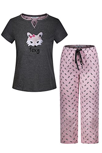 on Embroidery Short Sleeve Capri Sleepwear Set Grey Pink XL (Cotton Capri Set)