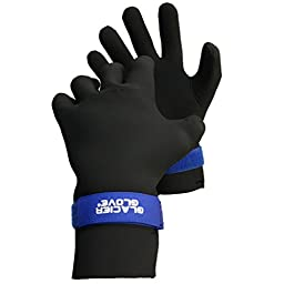 Glacier Glove Premium Waterproof Glove, Black/Blue, X-Small