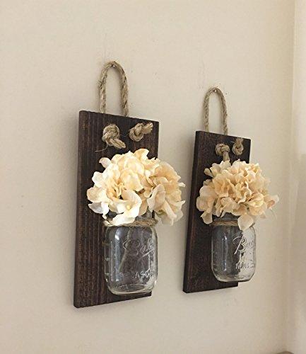 Mason-Jar-Wall-Sconce-SET-OF-TWO-Hand-Crafted-Rustic-Wall-Decor-Mason-Jar-Sconces-Hydrangea