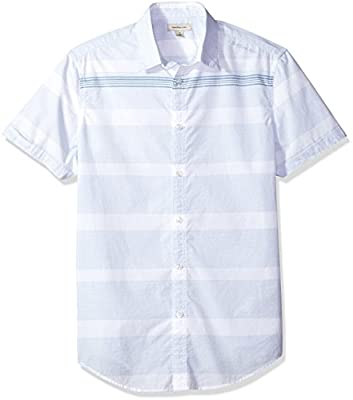 Calvin Klein Men's Short Sleeve Button Down Shirt Slub Stripe