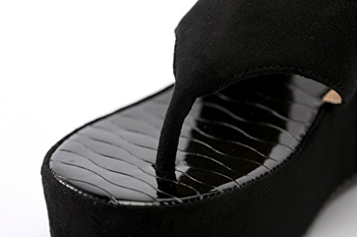 AgeeMi Shoes Sandalias Para Mujer Elegante Verano Punta Abierta Plataforma Negro (EuL13)