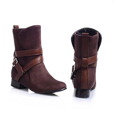 ZQ de Brown elegante con hembra con corto Invierno hembra redonda estudiantes clavijas de QXOtoño cabeza conjunto botas negrita botas y e versátil cilindro rtWBqrwF