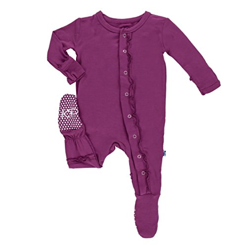 Kickee Pants Little Girls Basic Muffin Ruffle Footie with Snaps - Orchid, 8 -