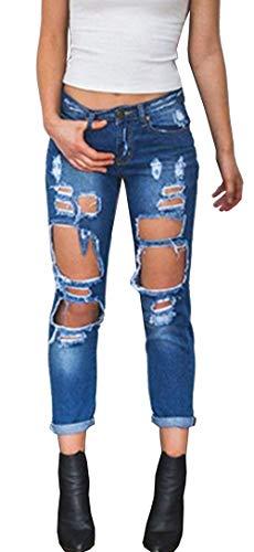 Elástico Pantalones Jane Vaqueros Pantalón Color2 Alta De Denim Las Modernas Casual Normal Stretch Mezclilla Cintura Agujeros Mujeres t1Z0nq