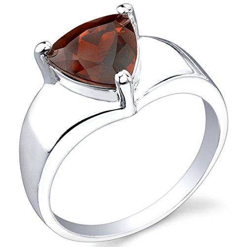 2.25 carats Trillion Cut Garnet Ring in Sterling Silver Rhodium Nickel Finish size 6