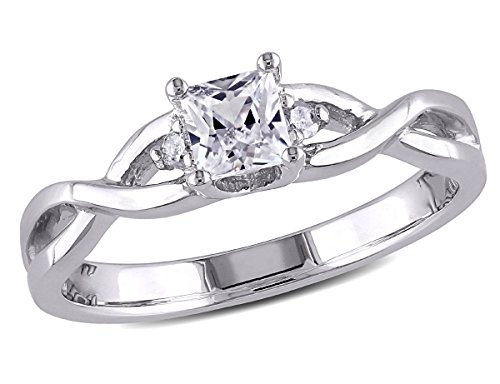 Princess Cut Created White Sapphire 3/8 Carat (ctw) Infinity Ring with Diamonds in Sterling Silver ()