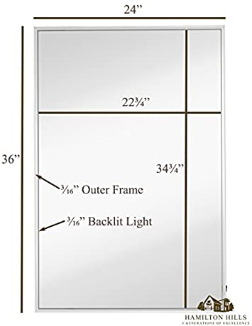 Brushed Metal Mirror with Lights Lighted Backlit LED Wall Mirror Contemporary Glass Illuminated Thin Frame Hanging Vertical or Horizontal Rectangle 24 x 36