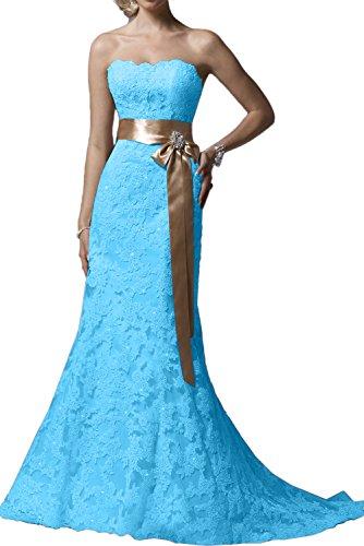 Damen Traegerlos Spitzenklaider Festkleid Traumhaft Promkleider Blau Abendkleider Lang Ivydressing FEdaqwxq