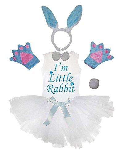 Petitebella Headband Bowtie Tail Gloves Shirt Skirt 6pc Girl Costume (Light Blue Rabbit, 6-8 Yr)