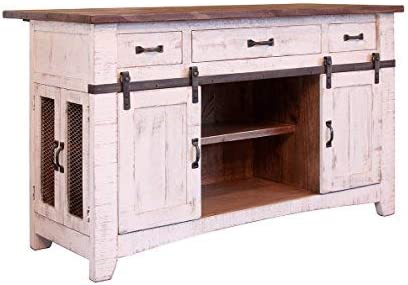 Crafters and Weavers Greenview 3 Drawer Kitchen Island w/2 Sliding Doors 2 Mesh Doors/Kitchen Counter