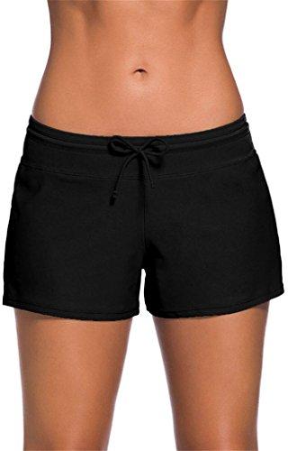 Vanbuy Women's Swimsuit Bottom Side Split Boy Shorts With Adjustable Drawstring 41977-Black-M