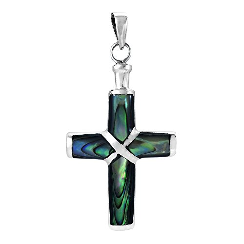 AeraVida Christian Cross Abalone Shell Inlay .925 Sterling Silver Pendant