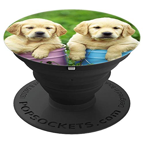 (Two Labrador Retriever Puppy , Yellow Lab Baby Cute - PopSockets Grip and Stand for Phones and Tablets)