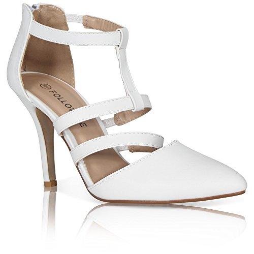 mit Stilettos spitze Schuhe Weiß White Pu Stöckelschuhe Damen für Fesselriemen Pq4pZX