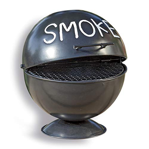 Whole House Worlds The Smoke Ashtray, Lidded Dome with Pedestal Base, BBQ Grill Party Style, Black Lacquered Iron, 6 Inches Tall By
