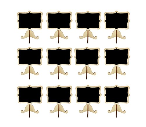 12 PACK Mini Blackboard Place Card with Support Easel for Message Board Signs Wedding Table Holders Table Number Holders Name Place Card Holder Food Signs Wet Towel Wip Off (Black-S-S) from T-shin