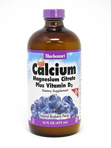 BLUEBONNET Nutrition Liquid Calcium Magnesium Citrate Plus Vitamin D3 Blueberry