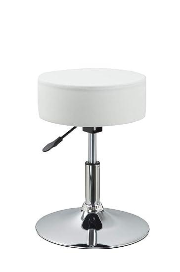 Duhome Drehhocker Sitzhocker Weiß Hocker RUND höhenverstellbar drehbar aus Kunstleder Farbauswahl 428S