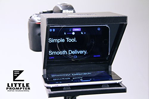 Little Prompter, The Compact Personal Teleprompter for DSLRs, Webcams, and Built-in Laptop Cameras, 70/30 Beamsplitter Glass, Use with iOS or Android ()