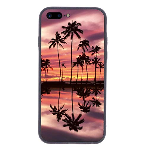 CHUFZSD Tropical Island Hawaiian iPhone 7/8 Plus Case Soft Flexible TPU Anti Scratch Shock-Proof Protective Shell Compatible Phone Case Cover (5.5 Inch)