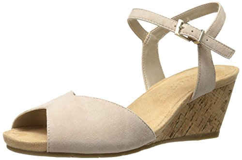 Aerosoles Suede Sandals (Aerosoles Women's Cupcake Wedge Sandal, Bone Suede, 8.5 M US)