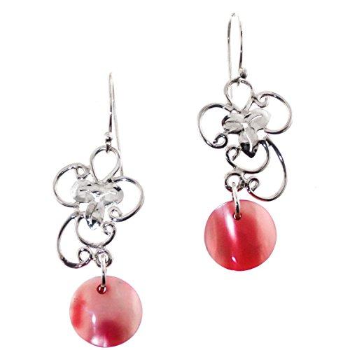 - Pink Abalone Shell Filigree Flower 925 Sterling Silver Drop Earrings, 1 1/4