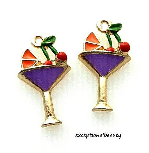 4 Enamel Martini Bar Drink Cherry Orange Gold Bead Drop 23mm Charms ()