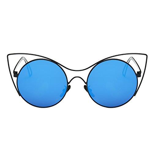 Zeraca Women's Flat Lenses Metal Frame Cateye Sunglasses UV400 Black - 2015 Sunglasses Trending