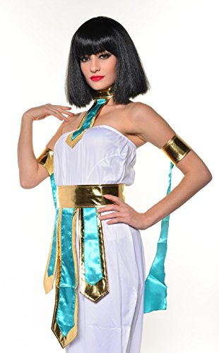 Halloween Egyptian Villain Queen Cleopatra Cleo Black Short Cosplay Wig with Bangs H0504 -