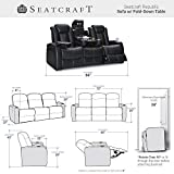 Seatcraft Republic Home Theater Seating - Top Grain Leather - Power Recline - Power Headrest - Center Fold Down Table - Cupholders - AC, USB, Wireless Charging - in Arm Storage