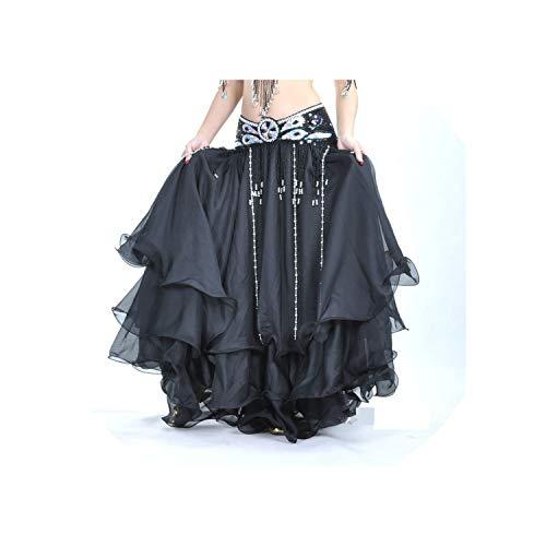 Double Slit Ear Chiffon Belly Dancing Skirt for Women Belly Dance Costumes,Beige,One Size]()