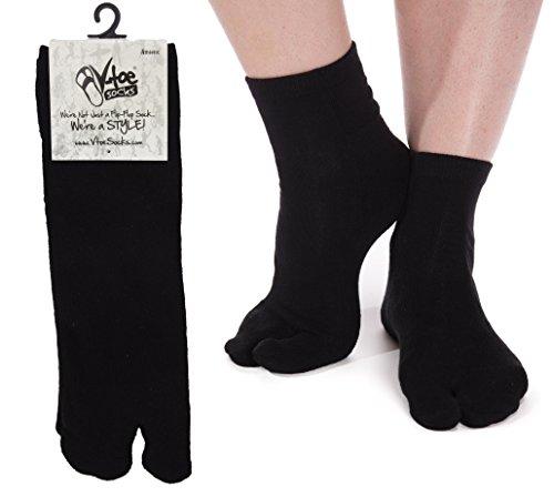 Athletic Flip Flop Tabi Socks - Black Ankle (3 Pairs)