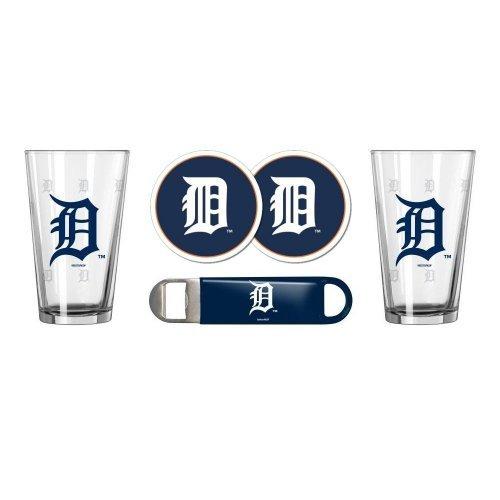 MLB Baseball SE Pint Glasses, Coasters & Bottle Opener Gift Set - Pint Glasses (2), Vinyl Coasters (2) & Stainless Steel Opener (1) (Tigers)
