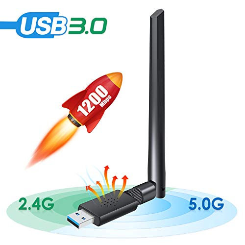 Carantee USB 3.0 WiFi Adapter 1200Mbps, Wireless Network WiFi Dongle with 5dBi Antenna for PC/Desktop/Laptop/Mac, Dual Band 2.4G/5G 802.11ac,Support WinXP/7/8/10/vista, Mac10.6-10.14