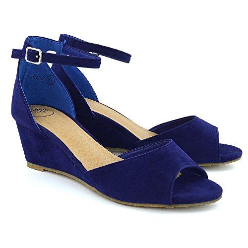 Alla Azzurro Finto Caviglia Sandalo Cinturino Peep Sintetico Scamosciato Donna Cuneo Essex Basso Glam Toe Px7wpqXXT
