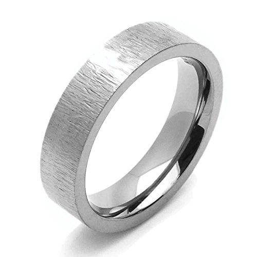 Double Accent 5MM Comfort Fit Titanium Wedding Band Patterned Flat Ring (Size 7 to 14) Size 10