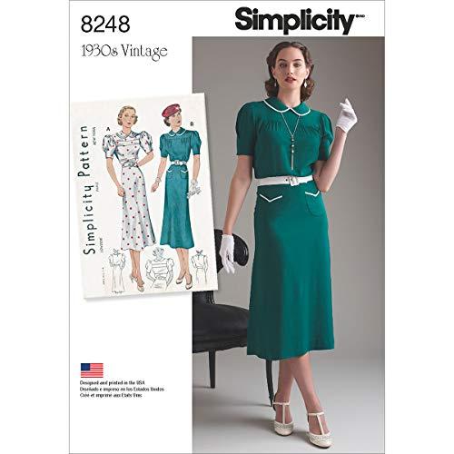 (Simplicity Pattern 8248 P5 Misses' Vintage 1930's Dresses, Size 12-14-16-18-20 )