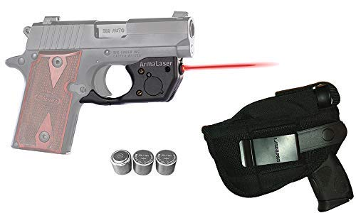 Laser Kit for SIG Sauer P238 & P938 w/LASERPRO Holster, Touch-Activated ArmaLaser TR8 Red Laser Sight & 2 Extra Batteries